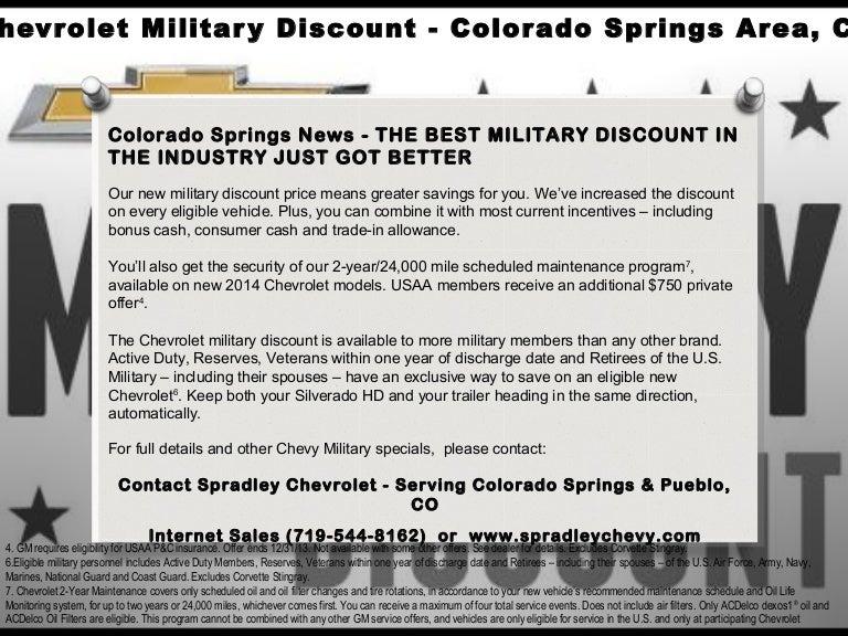 Chevrolet Military Discount Colorado Springs L Spradley Chevy