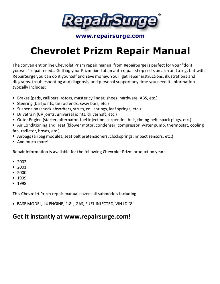 chevrolet prizm repair manual 1998 2002