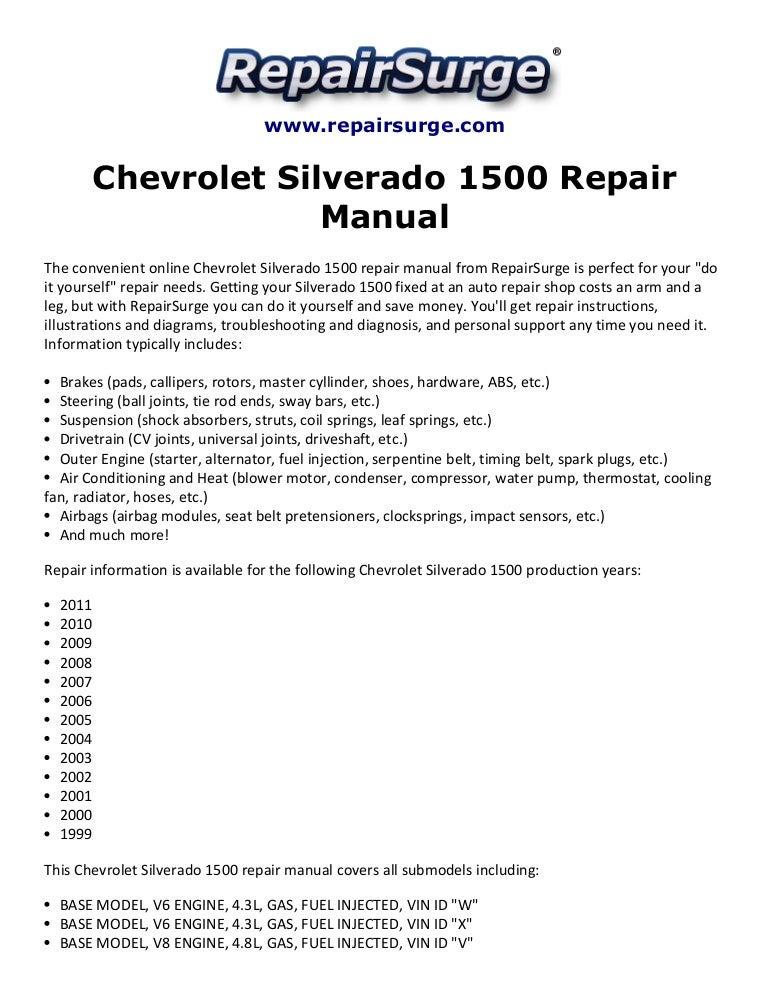 chevrolet silverado 1500 repair manual 1999 2011 rh slideshare net 2006 Chevy Silverado Manual 2007 chevrolet silverado 1500 extended cab owner's manual