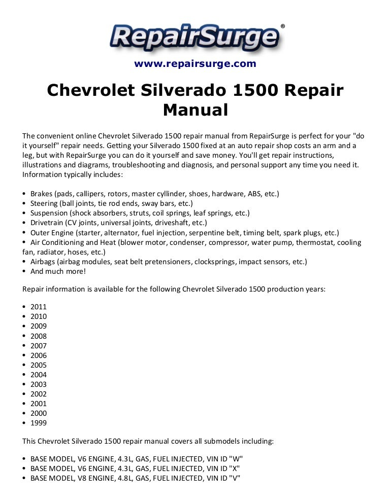 chevrolet silverado 1500 repair manual 1999 2011 rh slideshare net 2002 Chevy Silverado Engine Diagram 2002 Chevy Silverado Engine Diagram