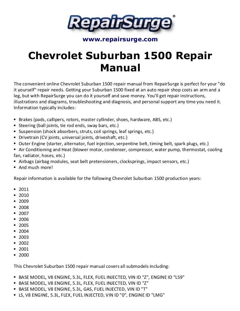 chevrolet suburban 1500 repair manual 2000 2011 rh slideshare net 2004 chevrolet suburban owners manual 1991 chevrolet suburban service manual