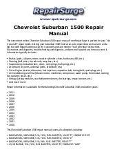 Chevrolet Suburban 2007 2009 Factory Service Repair Manual