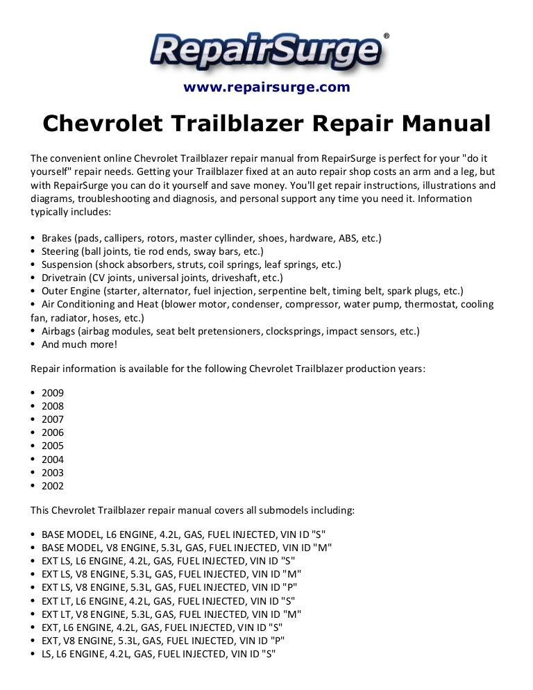 chevrolet trailblazer repair manual 2002-2009  slideshare