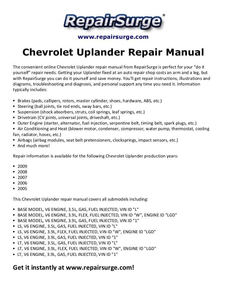 Chevrolet Uplander Repair Manual 2005 2009