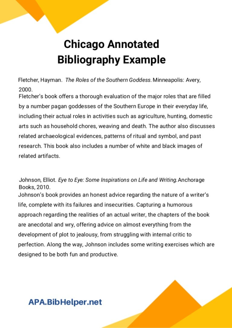 Chicago Annotated Bibliography Example