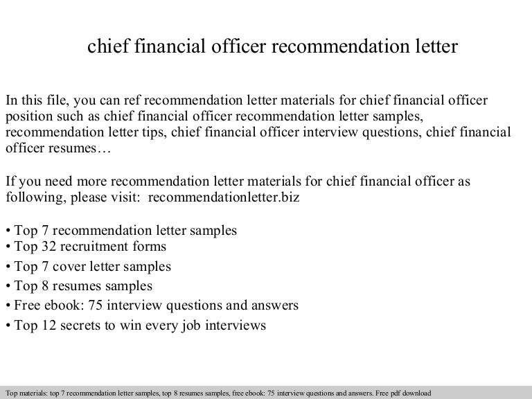 Chief financial officer recommendation letter thecheapjerseys Gallery