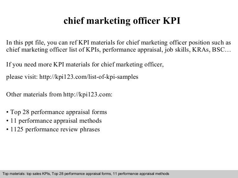 Chief marketing officer kpi – Marketing Officer Job Description