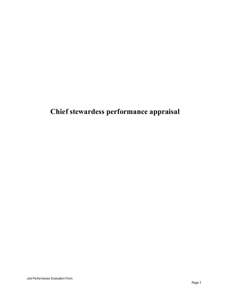 chief stewardess performance appraisal