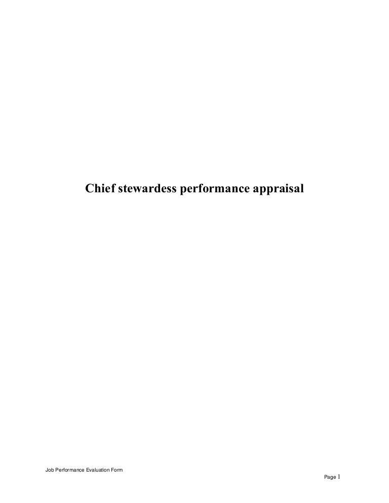 chief stewardess performance appraisal