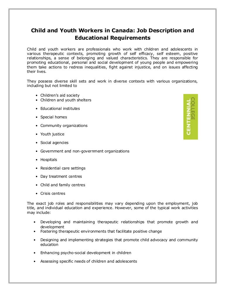child and youth workers in canada job description and educational req. Resume Example. Resume CV Cover Letter