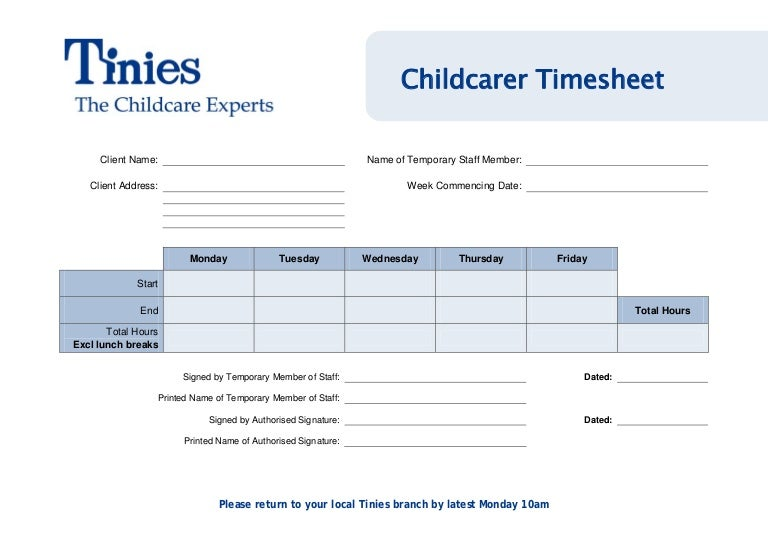 childcarers nannies timesheet