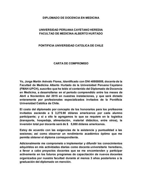 Chile 2015 diplomado carta de compromiso