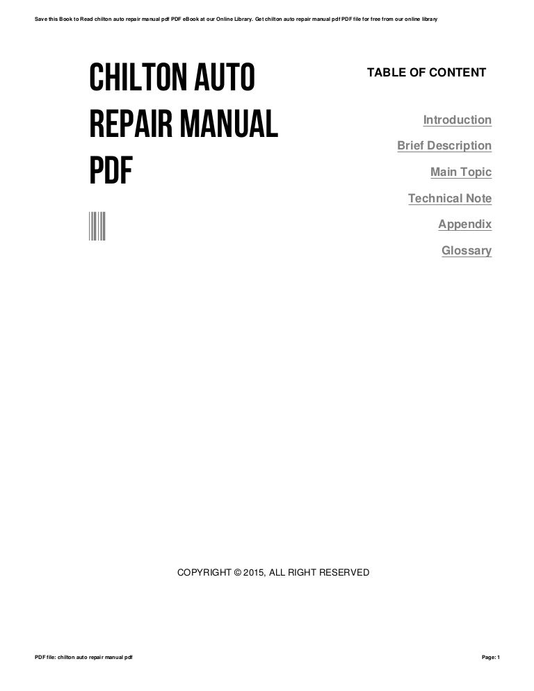 Chilton auto repair manual pdf