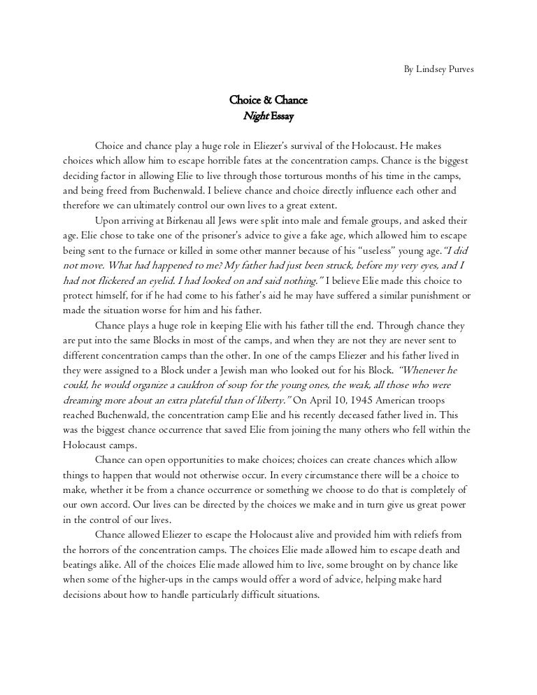 Choice and Chance - Night Essay
