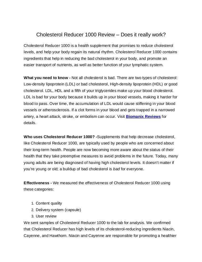 cholesterol reducer 1000 review does it really work