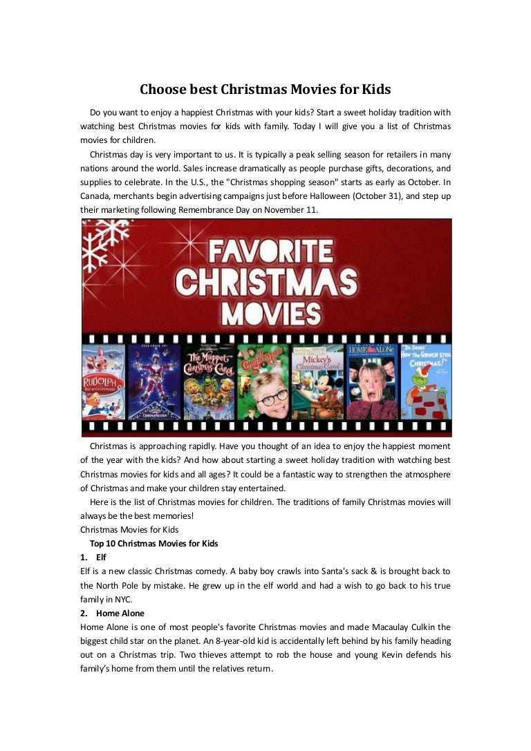 Choose best christmas movies for kids