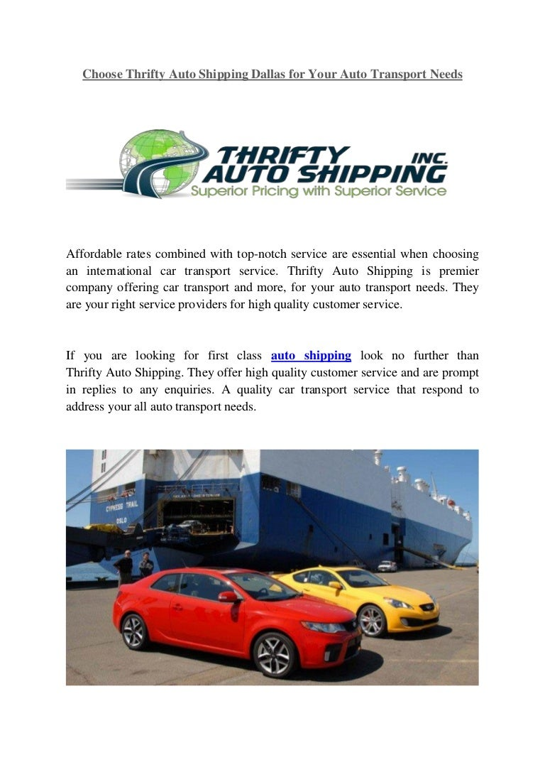 Car Transport Rates >> Choose Thrifty Auto Shipping Dallas For Your Auto Transport