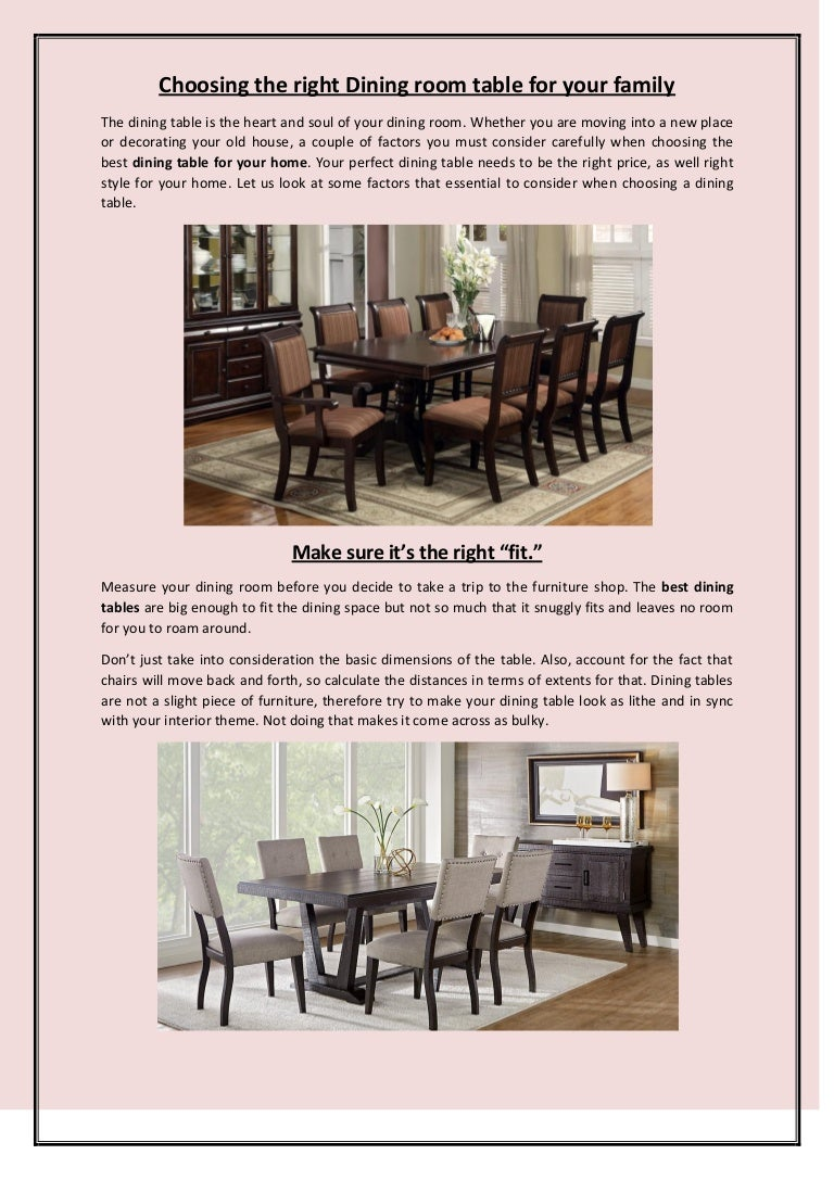 Choosing The Right Dining Room Table For Your Family
