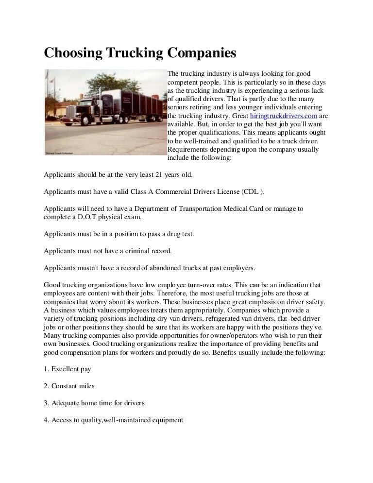 Choosing trucking companies