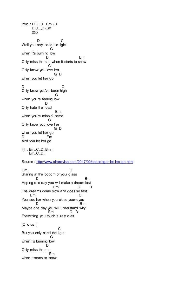 Chord Passenger Let Her Go Song Lyrics