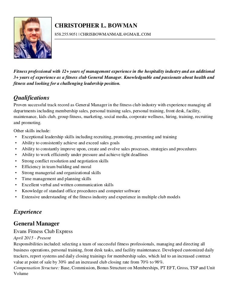 chris bowman fitness resume