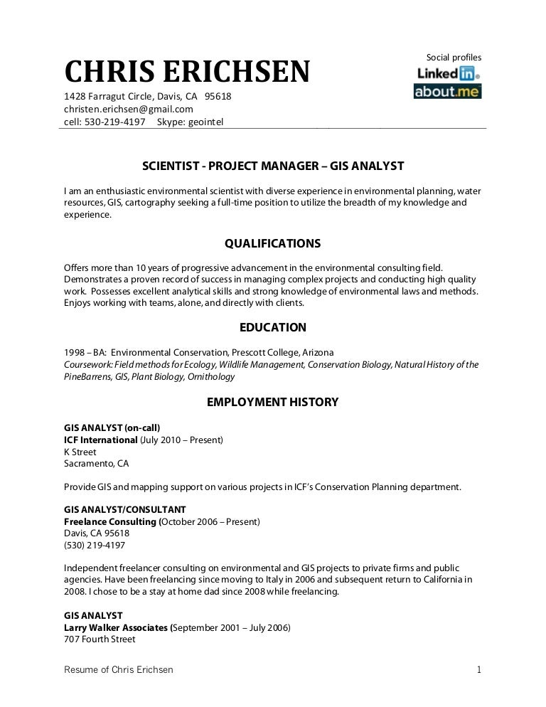 chris erichsen resume resume example resume cv cover letter - Sample Wildlife Biologist Resume