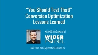 Do Conversion Optimization Like the Pros