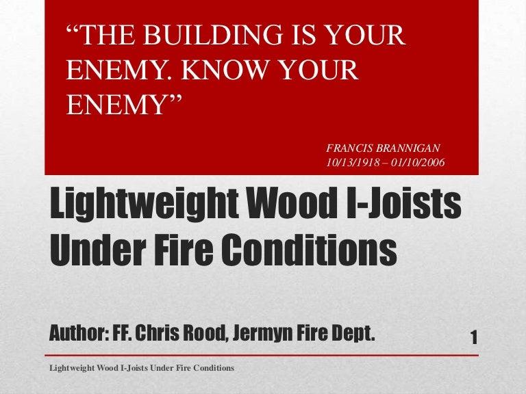 Lightweight I-Joist Construction Under Fire Conditions