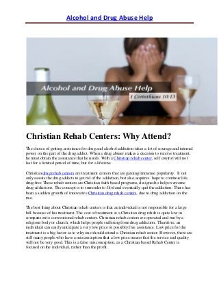 Christian Rehab Centers: Why Attend?