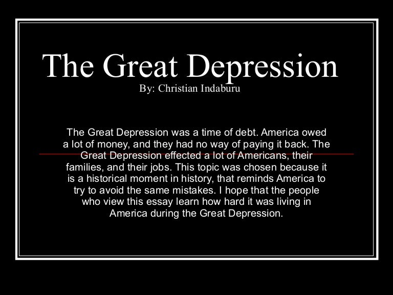 Christian The Great Depression Power Point