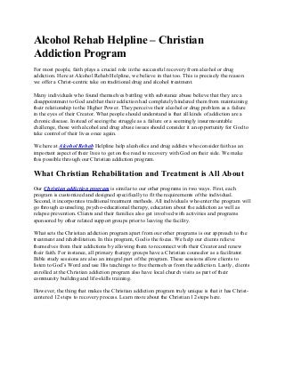 Christian Addiction Program - The Alcohol Rehab