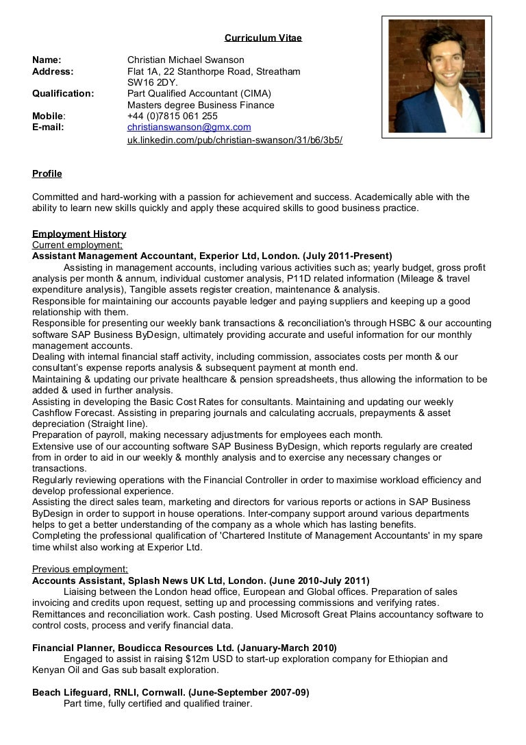 Funky Resume For Part Qualified Accountants Ideas - Administrative ...