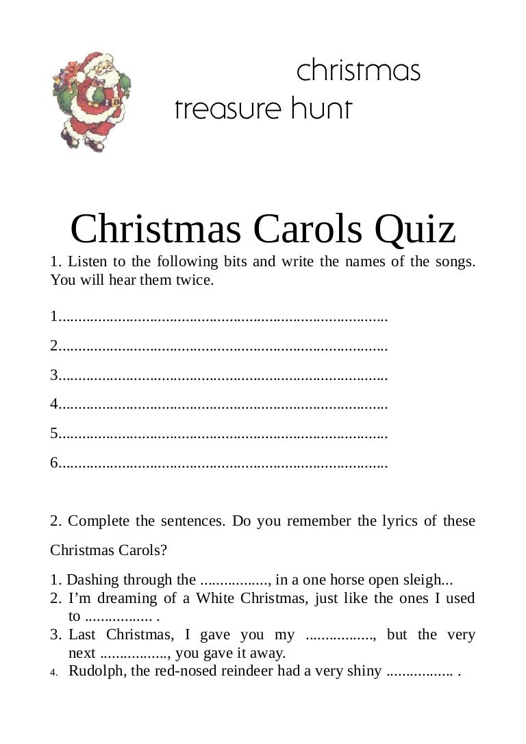Christmas carols quiz