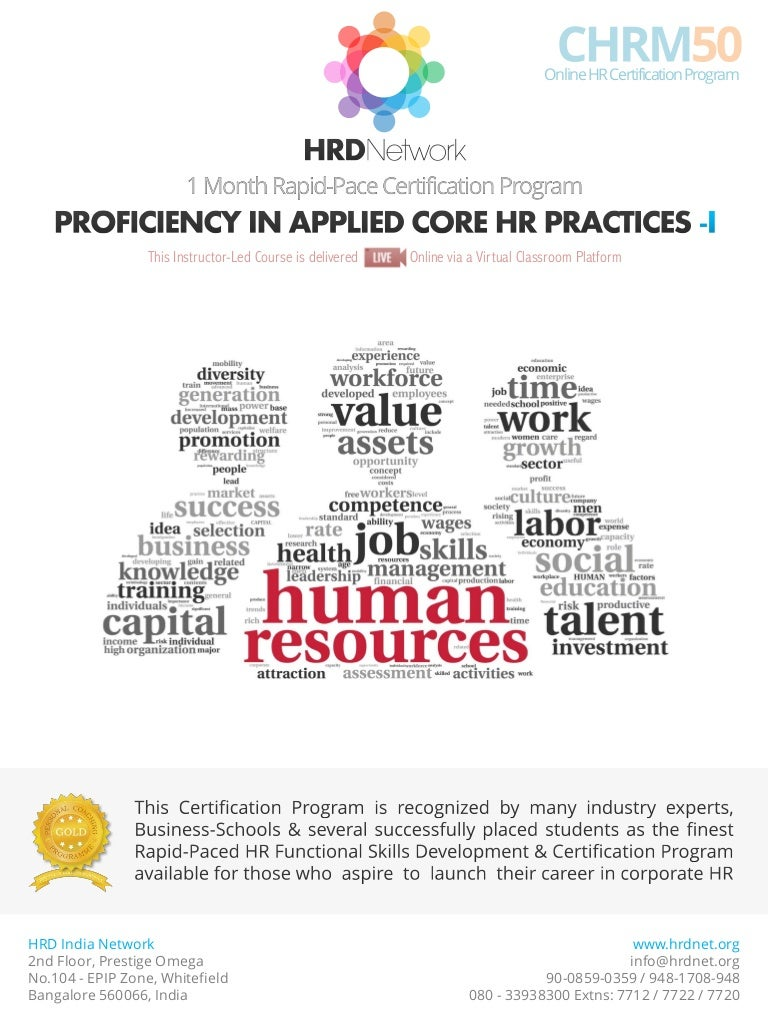 Chrm50 rapid pace certificate in applied core hr practices 1 month xflitez Gallery