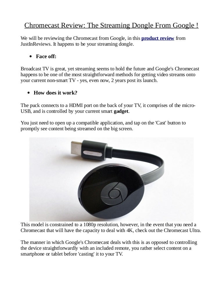 Chromecast Review: The Streaming Dongle From Google