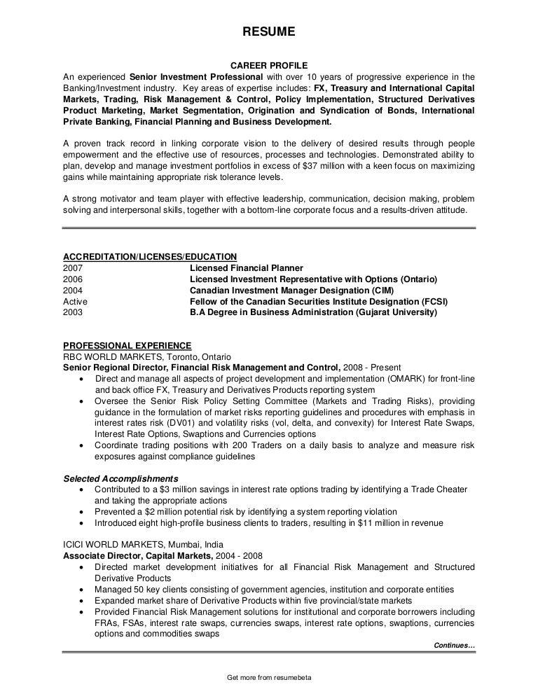 stock broker resume