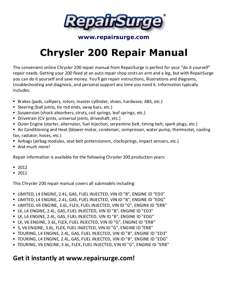 Chrysler 200 Repair Manual 2011-2012