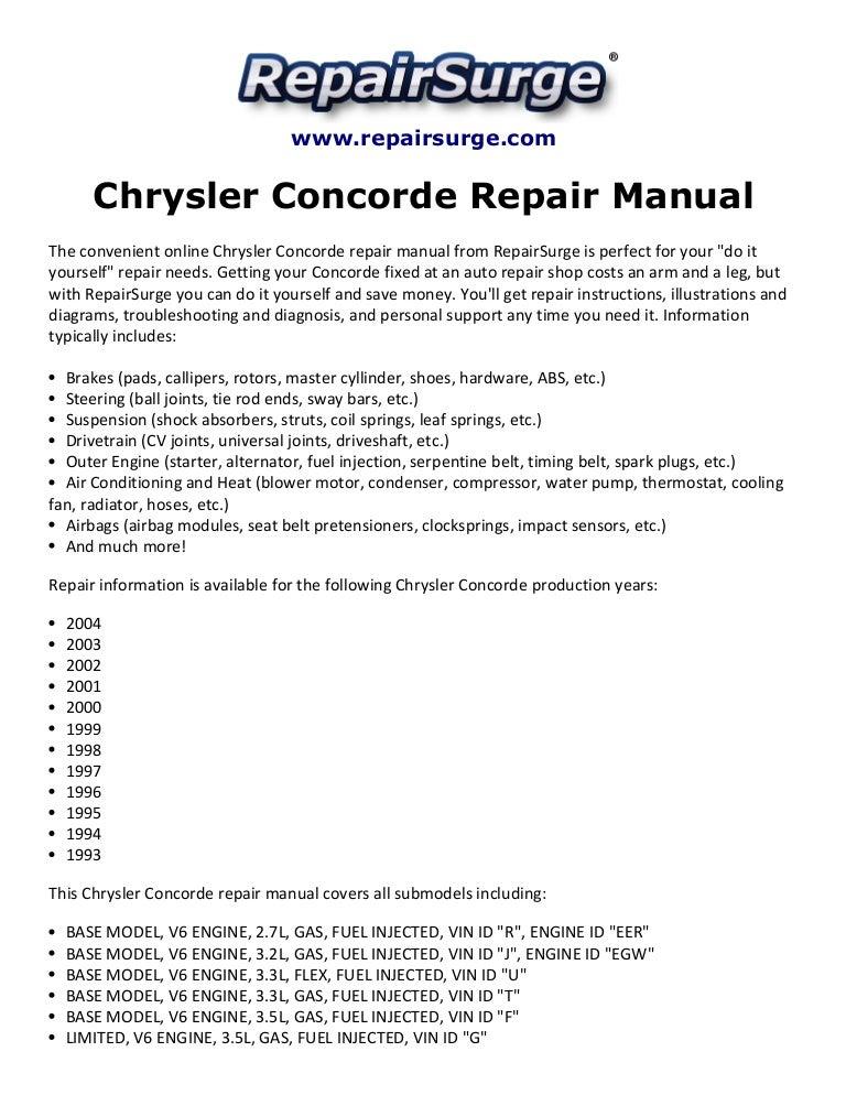chrysler concorde repair manual 1993-2004  slideshare