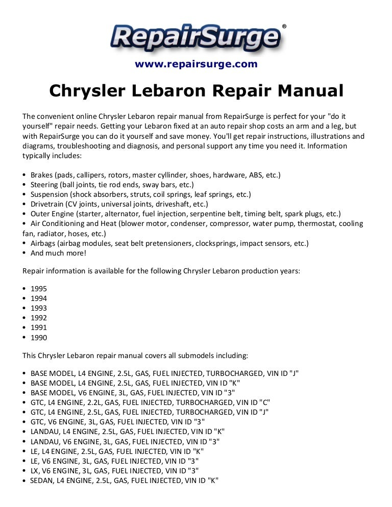 1992 chrysler lebaron factory service repair manual
