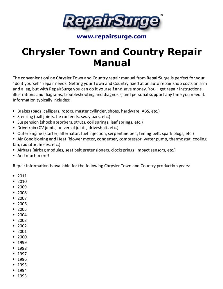 chrysler town and country repair manual 1990 2011