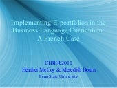 Implementing E-portfolios in the Business Language Curriculum: A French Case