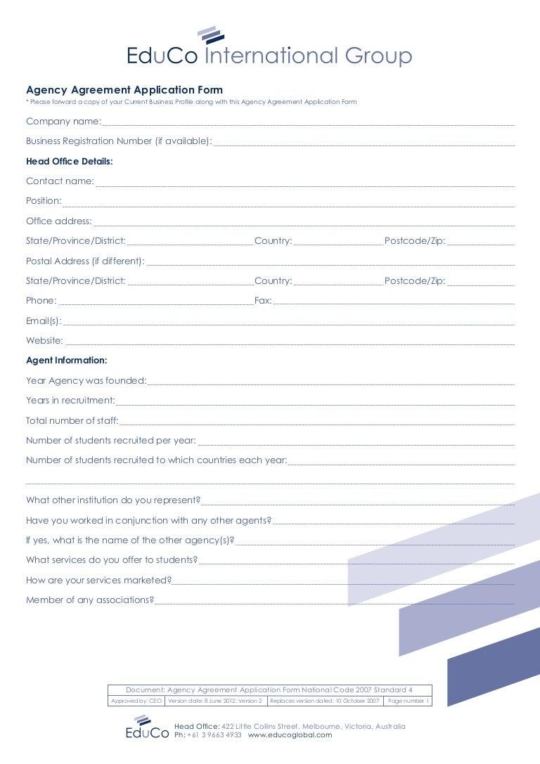 Cambridge International College Cic australia forms2014agentapplic – Business Agency Agreement