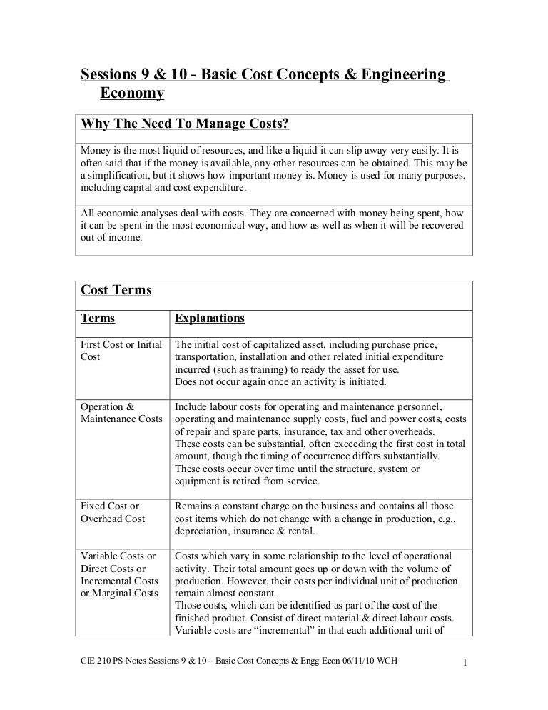 Cie 210 ps notes sessions 9 10 basic cost concepts engg econ sciox Choice Image