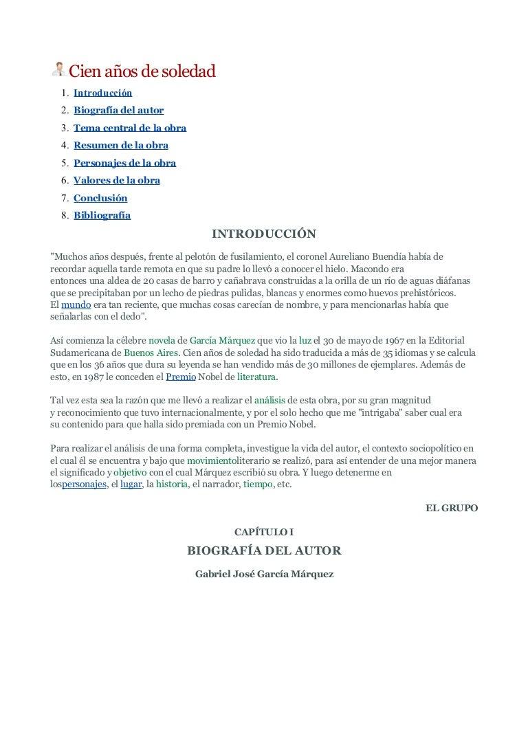 Cien Anos De Soledad Resumen