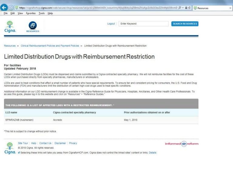 Cigna Limited Distribution Drugs With Reimbursement Restriction