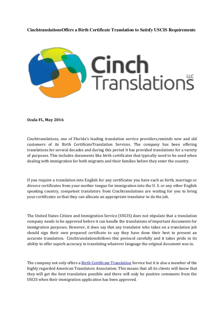 Cinchtranslations offers abirthcertificatetranslationtosatisfyu aiddatafo Images