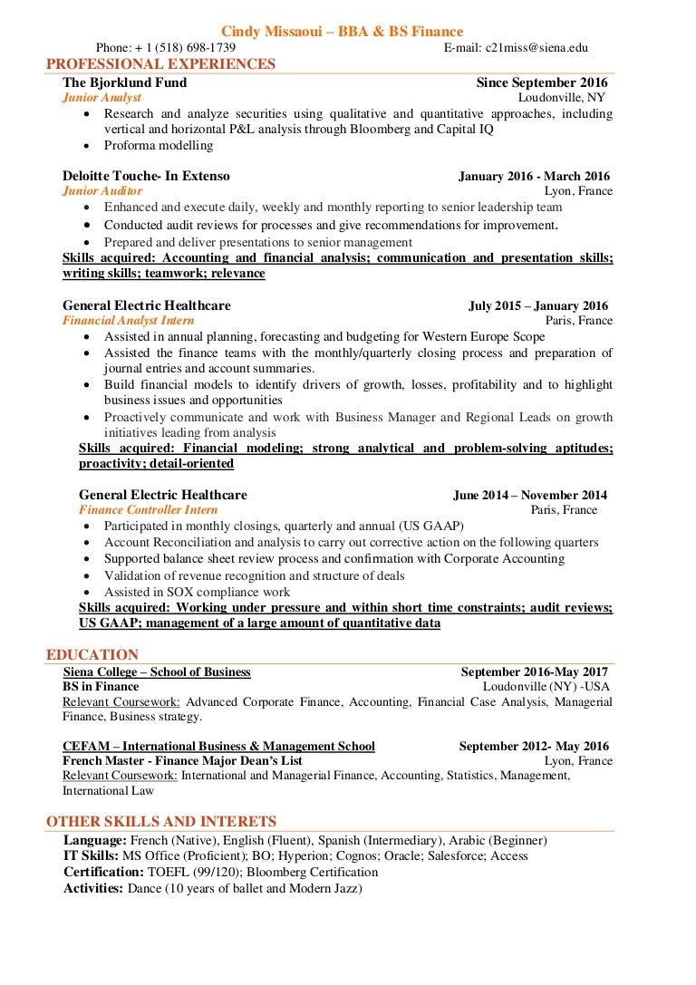 Cindy Missaoui Finance Resume