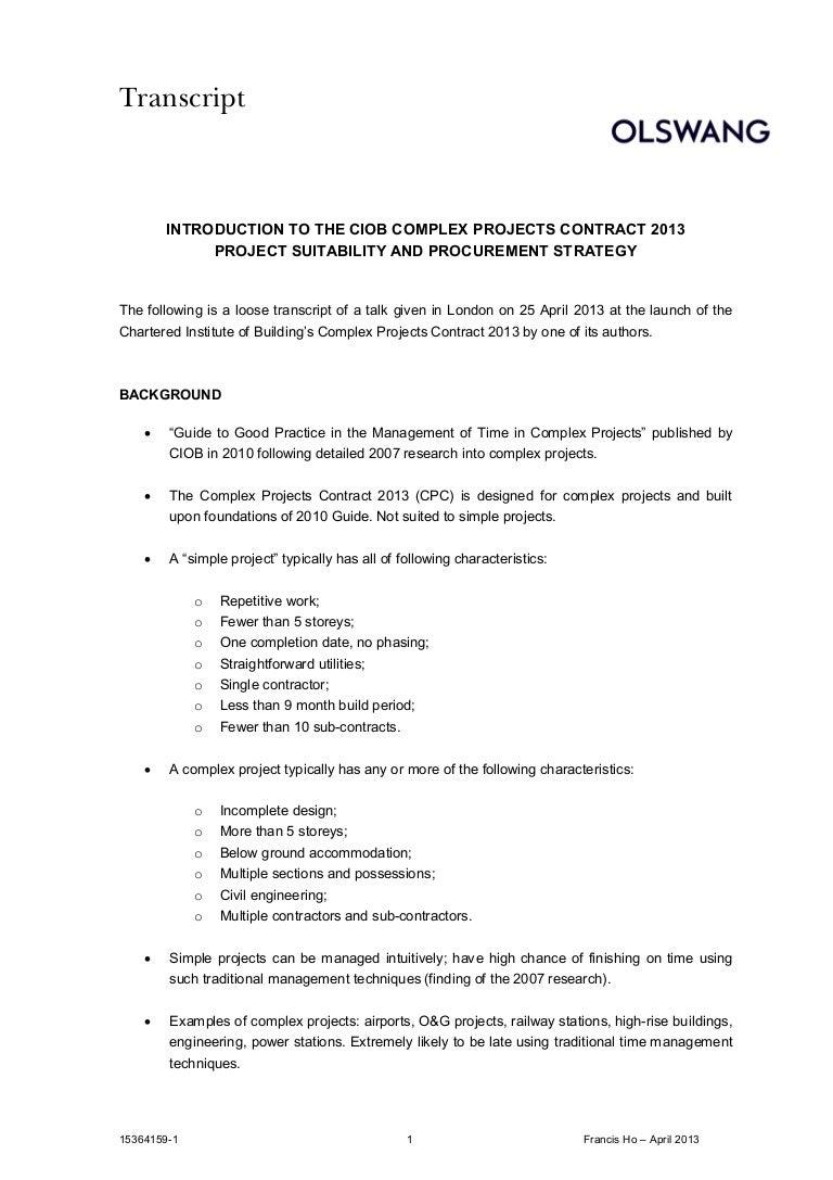 Ciob Complex Projects Contract 2013 25 April 2013