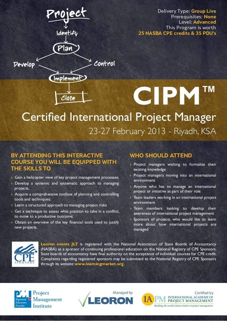 Cipm certified international project manager riyadh 2327 februar xflitez Image collections