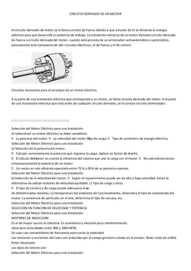 Circuito Mayor : Circuito derivado de un motor